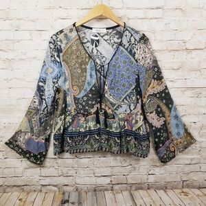 Glam American Made Blouse Top Bohemian Boutique S